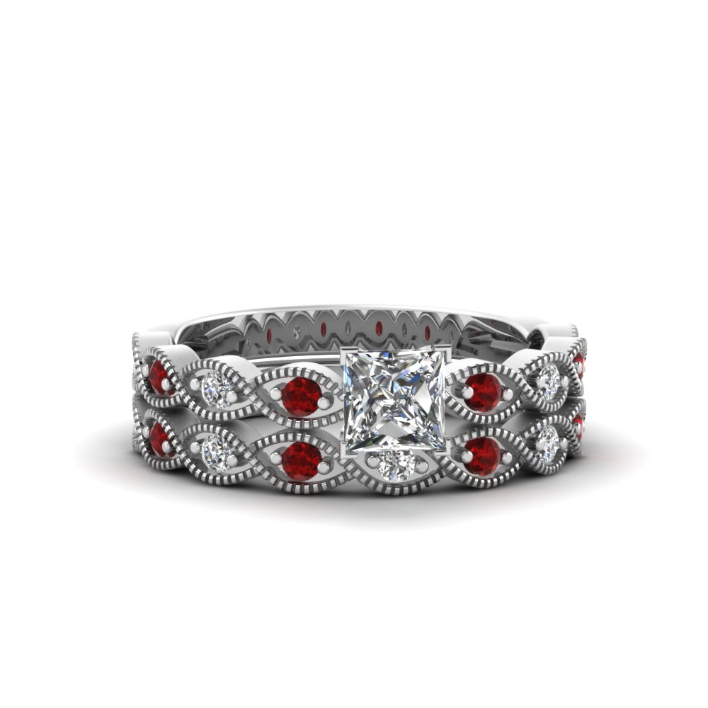 princess cut twisted vintage diamond wedding set with ruby in 14K white gold FDENS3052PRGRUDR NL WG