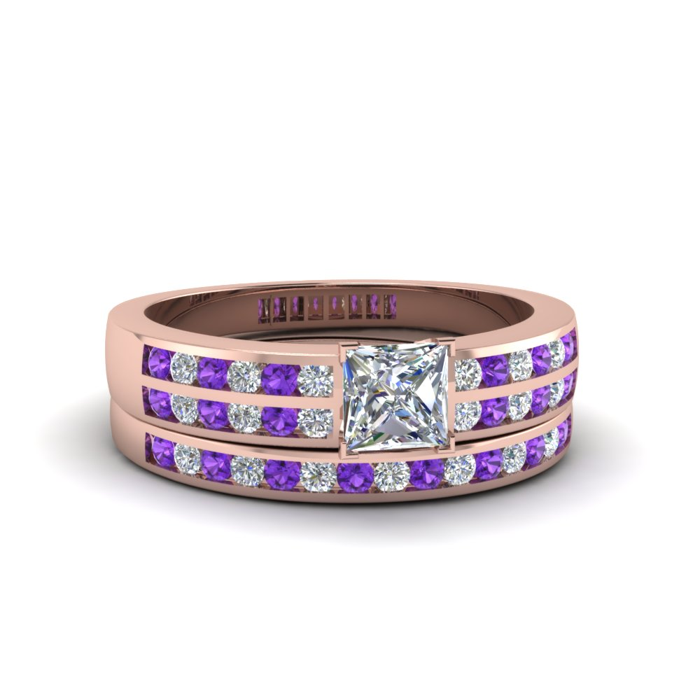 princess cut two row channel diamond bridal set with violet topaz in 14K rose gold FDENS3119PRGVITO NL RG