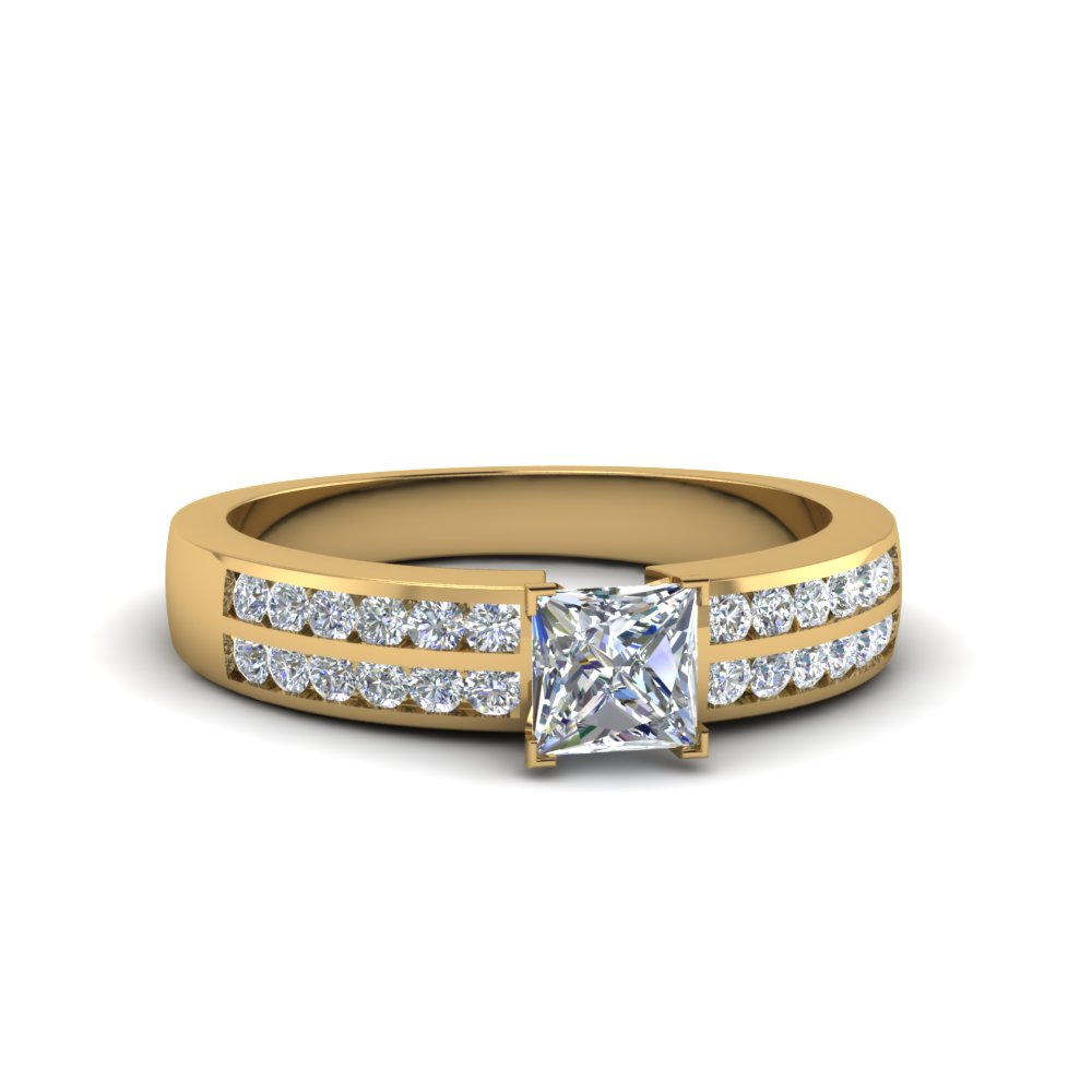 2 Row Diamond Channel Set Gold Wedding Ring