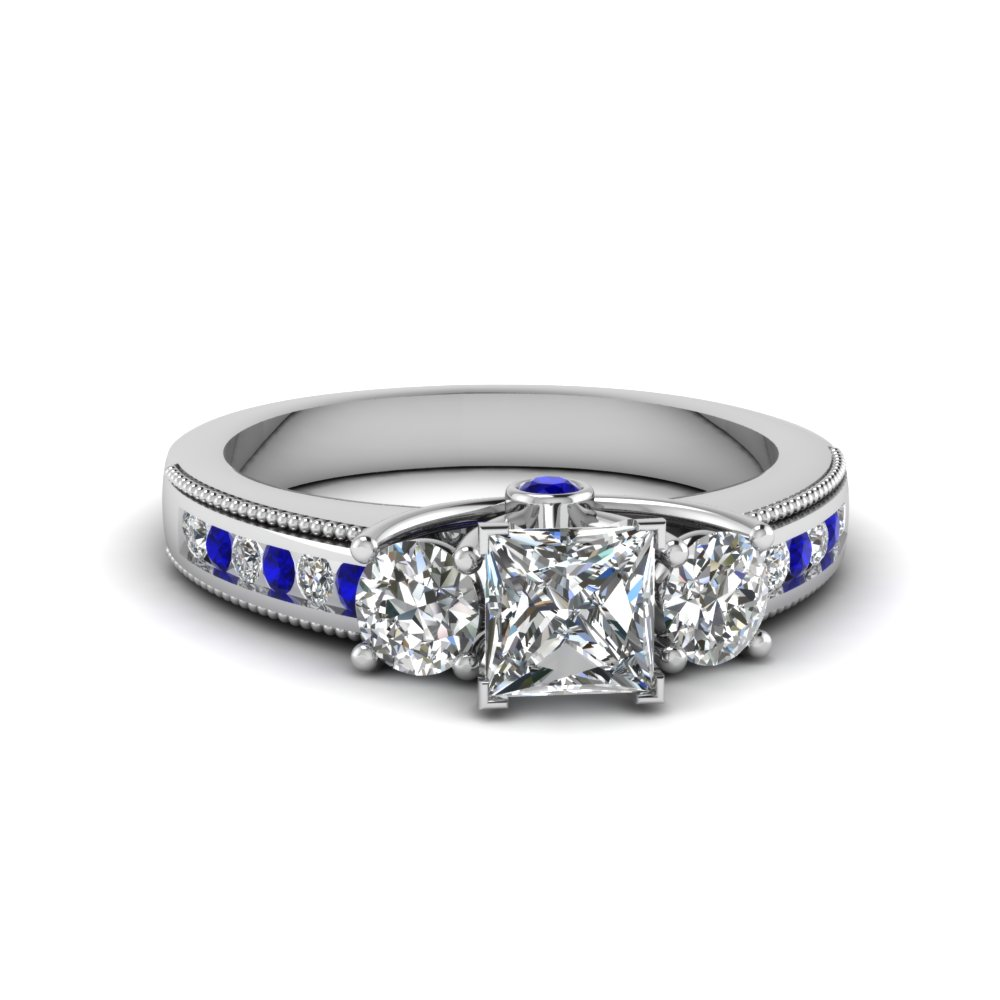 Princess Cut Diamond & Sapphire Rings