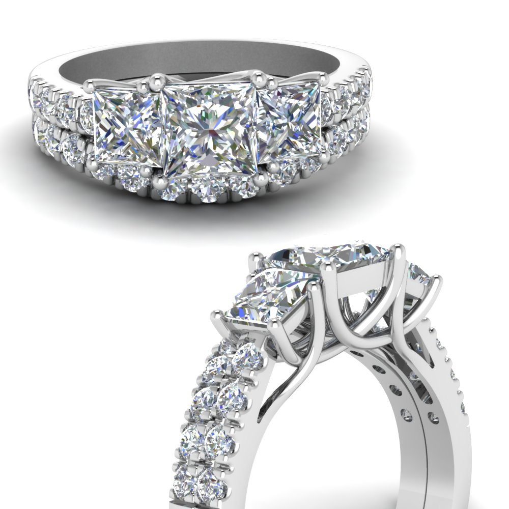 3 Princess Cut Accent Wedding Set