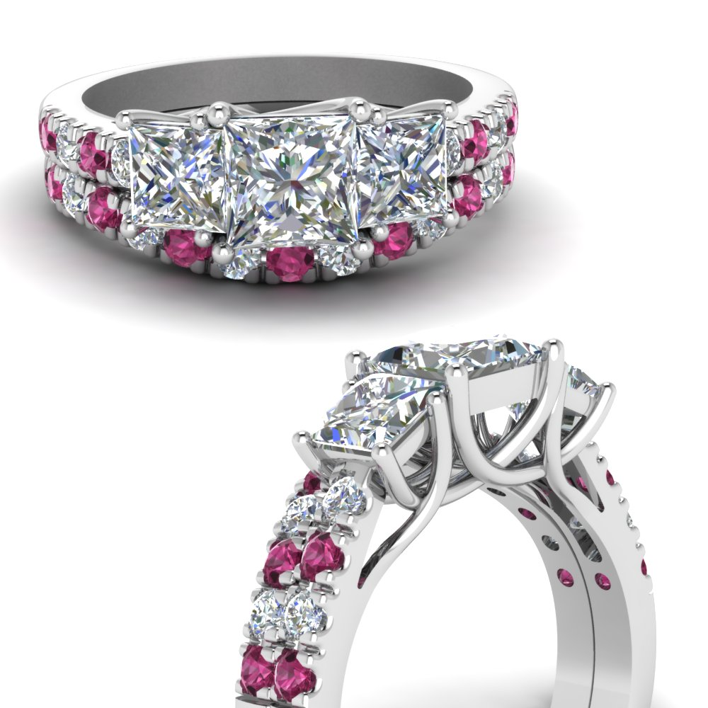 princess cut u prong diamond accented wedding ring set with pink sapphire in FDENS1218PRGSADRPIANGLE3 NL WG.jpg