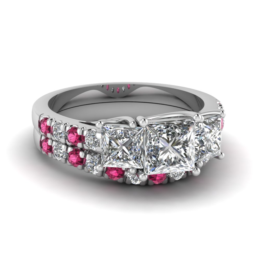princess cut u prong diamond accented wedding ring set with pink sapphire in FDENS1218PRGSADRPI NL WG