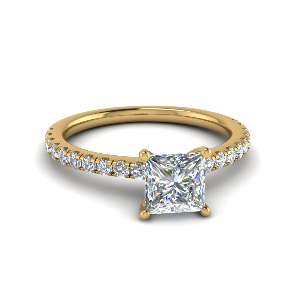 princess cut u prong diamond engagement ring in FD8362PRR NL YG