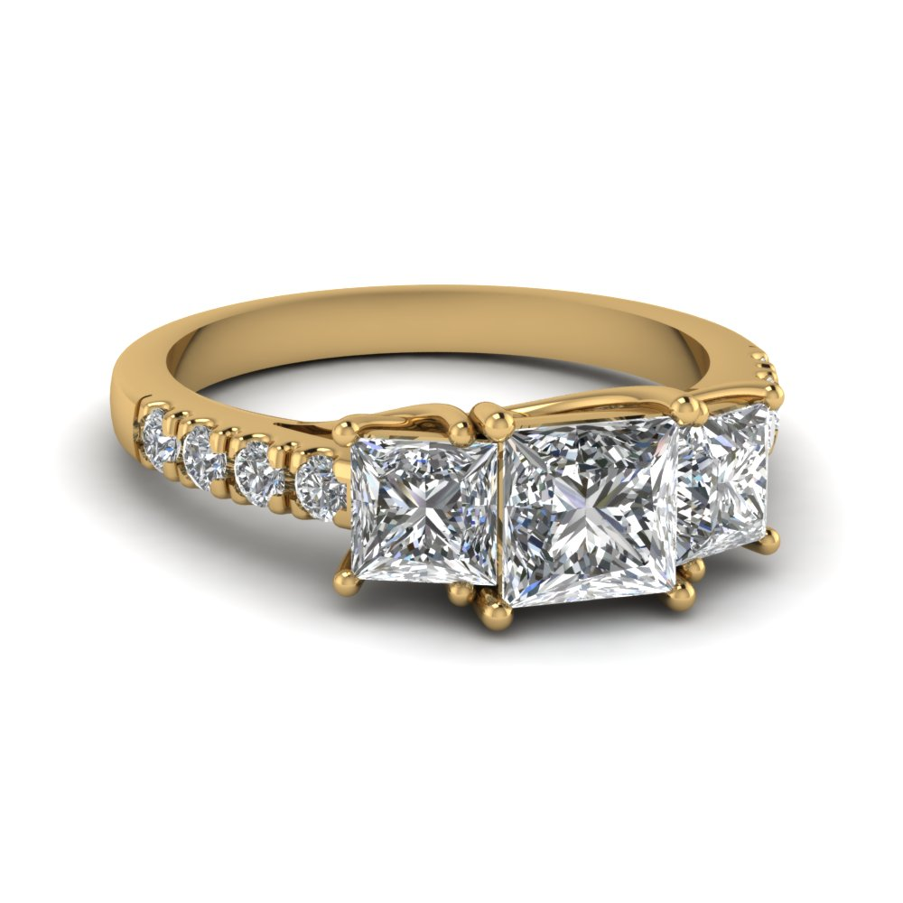 princess cut u prong three stone diamond accented engagement ring in 14K yellow gold FDENS1218PRR NL YG