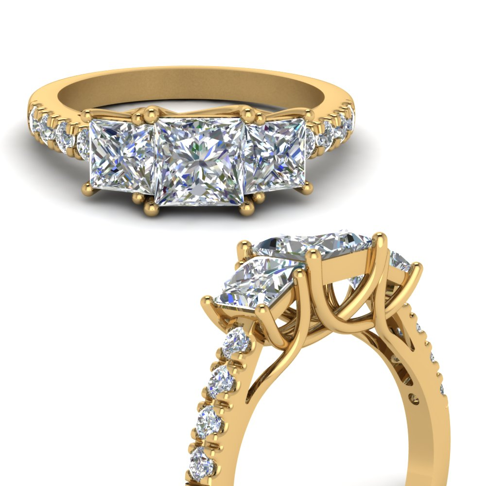 princess cut u prong three stone diamond accented engagement ring in FDENS1218PRRANGLE3 NL YG.jpg