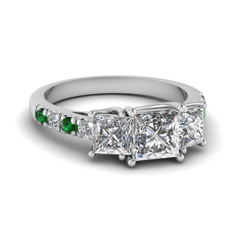 engagement emerald ring accents accented rings unique wedding diamond