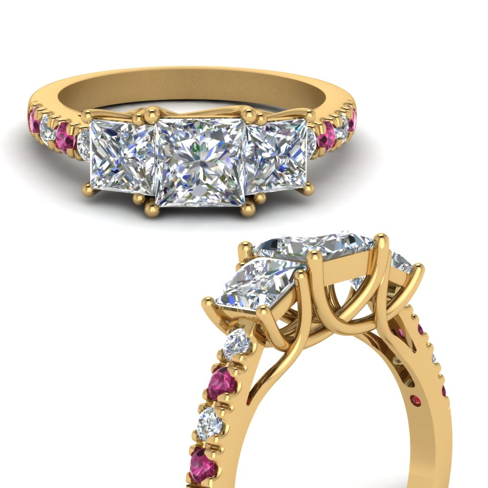 princess cut u prong three stone diamond accented engagement ring with pink sapphire in FDENS1218PRRGSADRPIANGLE3 NL YG.jpg