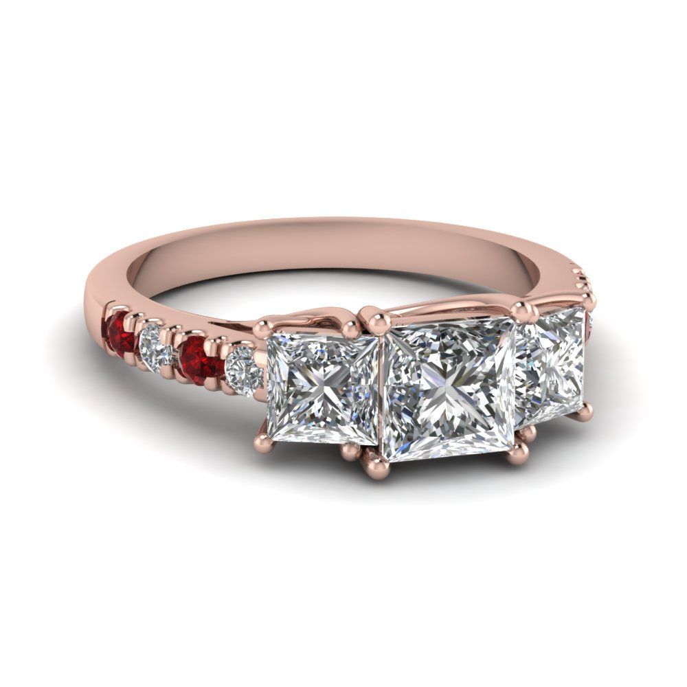 Princess Cut Ruby Accented Ring