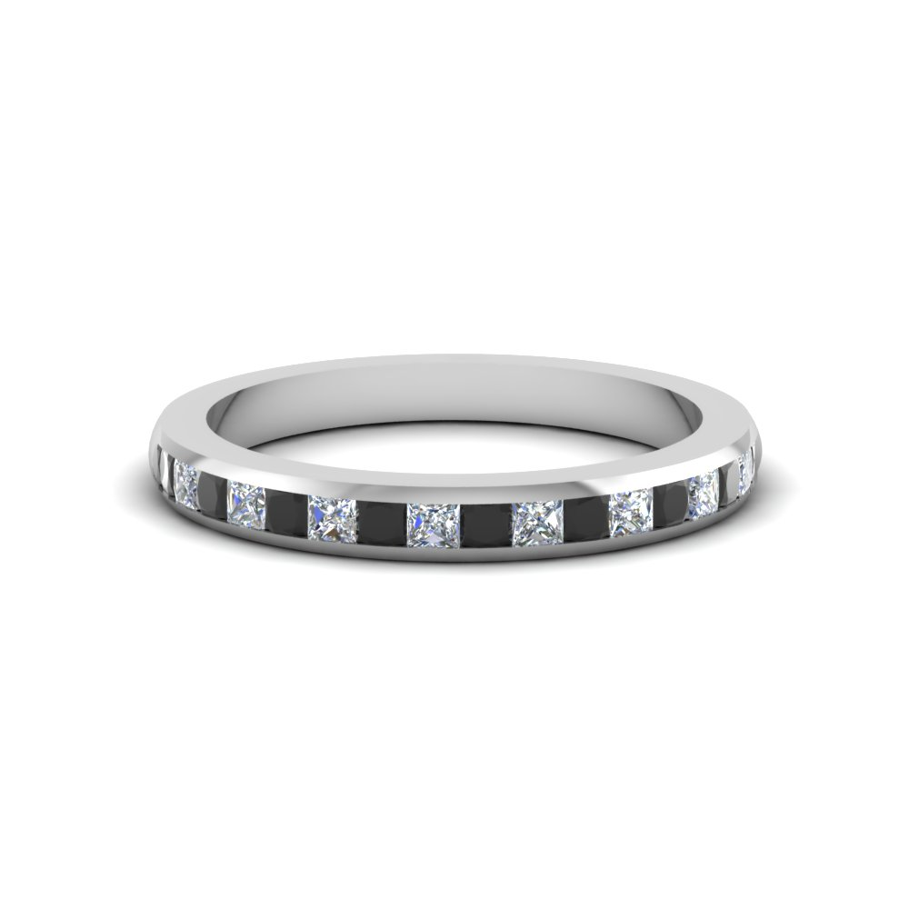 Princess Cut Black Diamond Band
