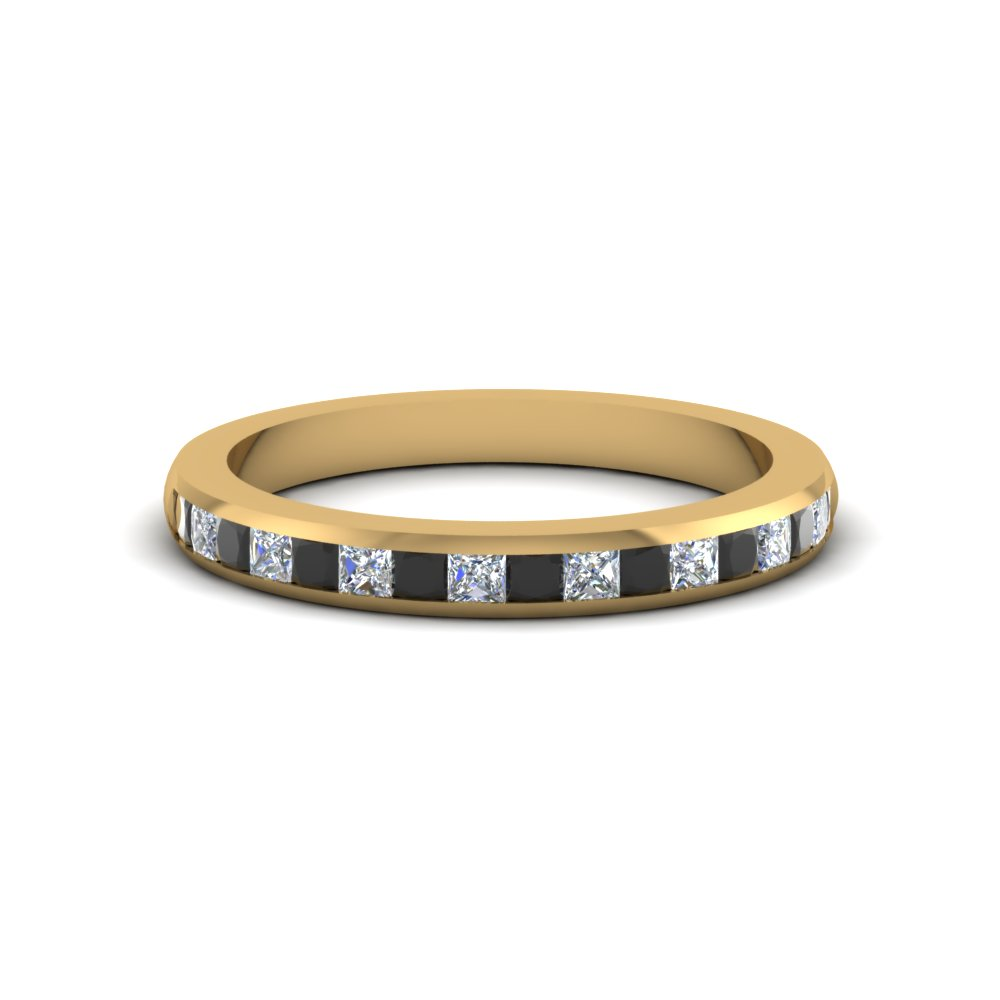 Princess cut wedding band for women with black diamond in for Womens black diamond wedding rings