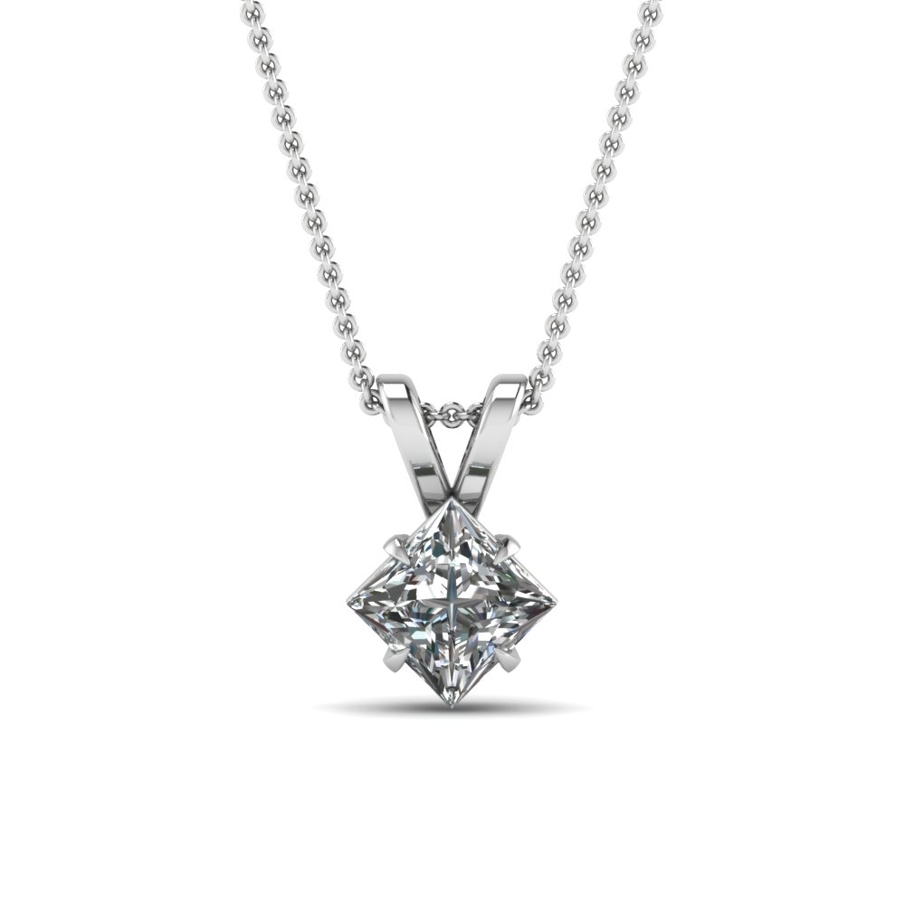 princess-cut-white diamond-solitaire-pendant-in-14K-white-gold-FDPD2463PR-NL-WG