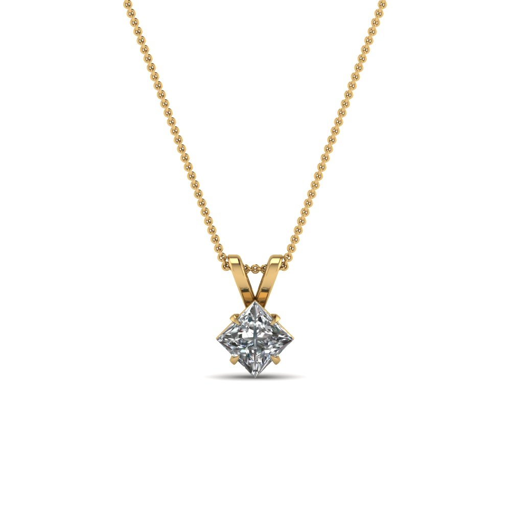 princess-cut-white diamond-solitaire-pendant-in-14K-yellow-gold-FDPD2463PR20CT-NL-YG