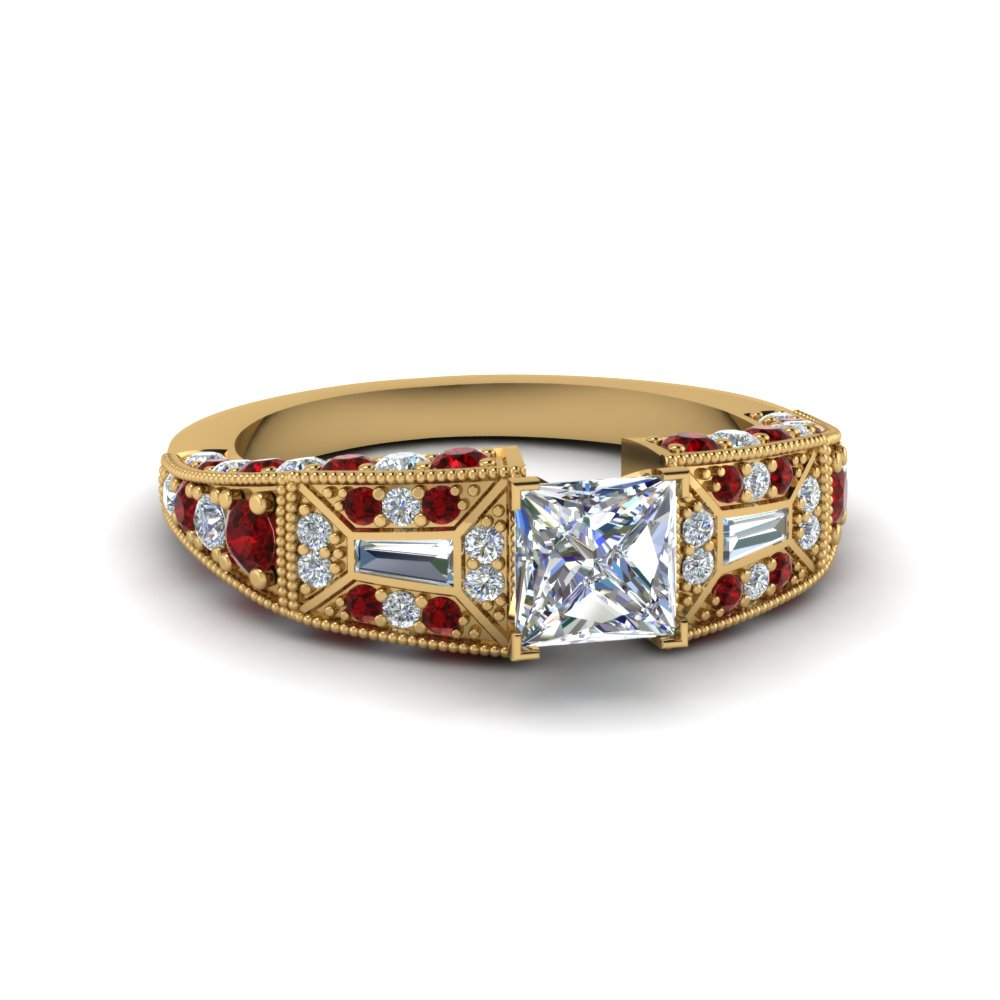 princess cut wide antique style diamond engagement ring with ruby in FDENR8601PRRGRUDR NL YG