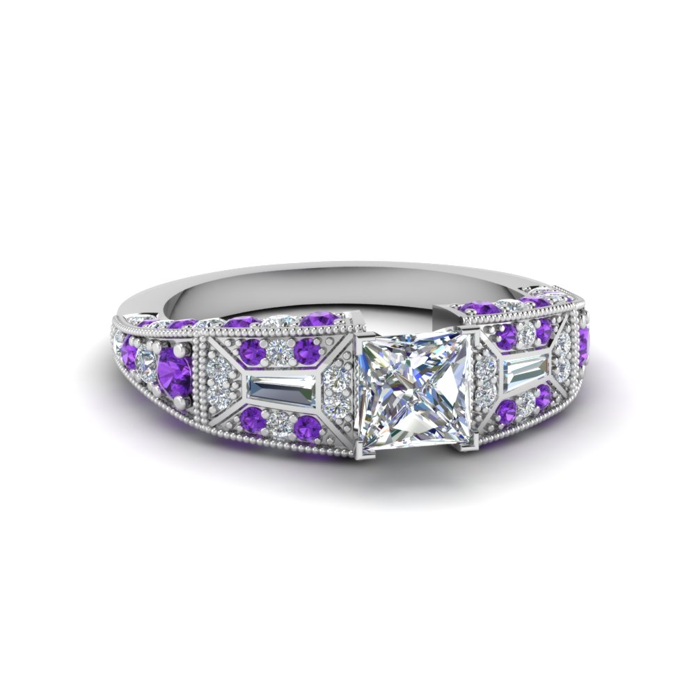 ff774ac7bd princess cut wide antique style diamond engagement ring with violet topaz in  FDENR8601PRRGVITO NL WG