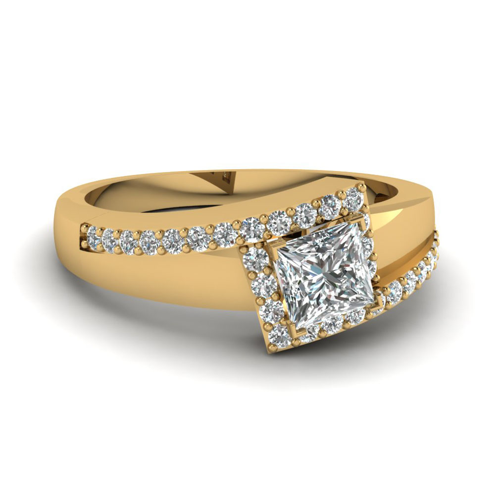 Crossover Princess Cut Diamond Discount Engagement Ring
