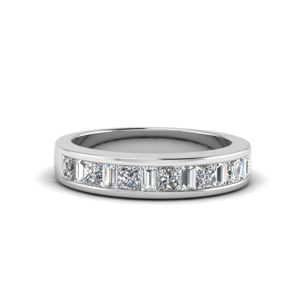 princess diamond and baguette band in 14K white gold FDENS350B NL WG