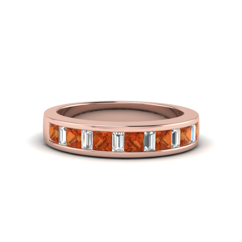 princess diamond and baguette band with orange sapphire in 14K rose gold FDENS350BGSAOR NL RG