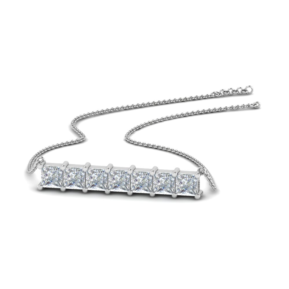 princess cut diamond horizontal bar pendant in FDPD8420 NL WG