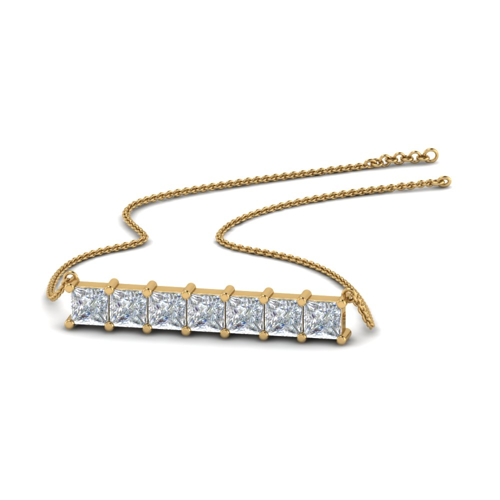 princess cut diamond horizontal bar pendant in FDPD8420 NL YG