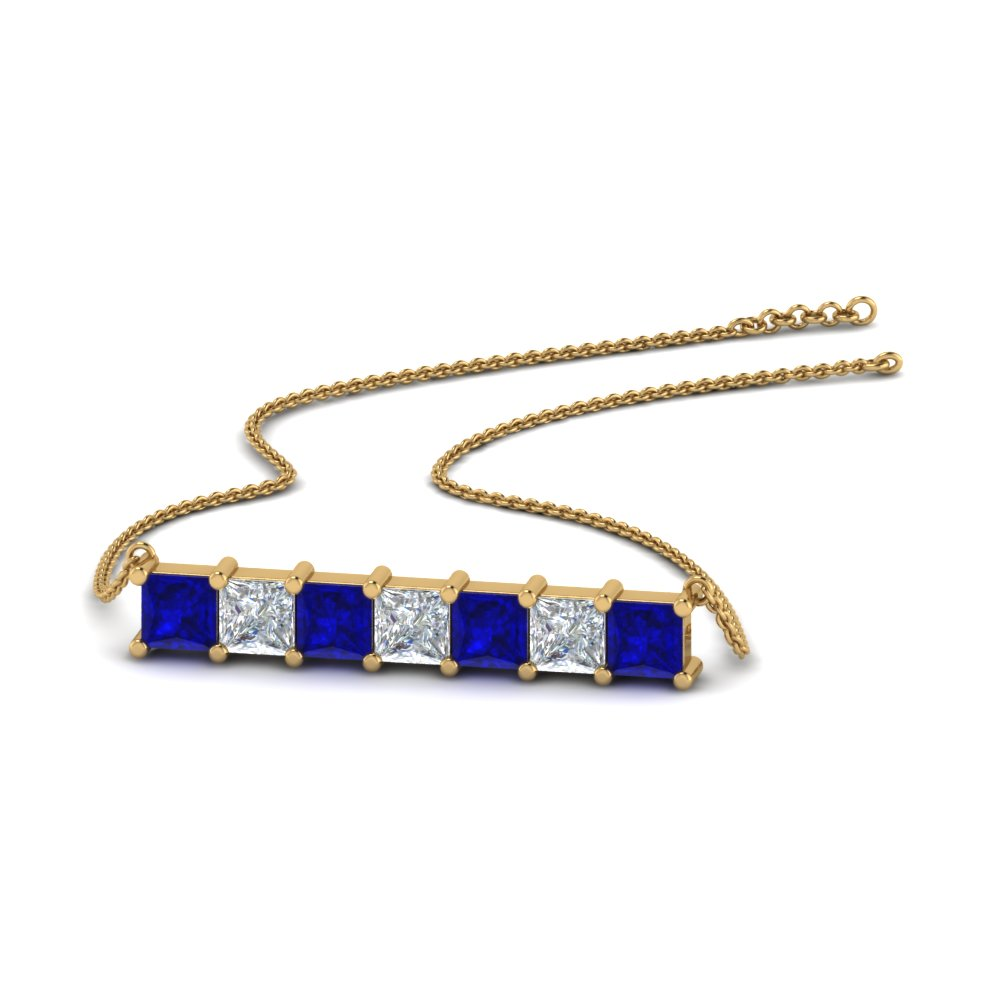 princess diamond horizontal bar pendant with blue sapphire in FDPD8420GSABL NL YG.jpg