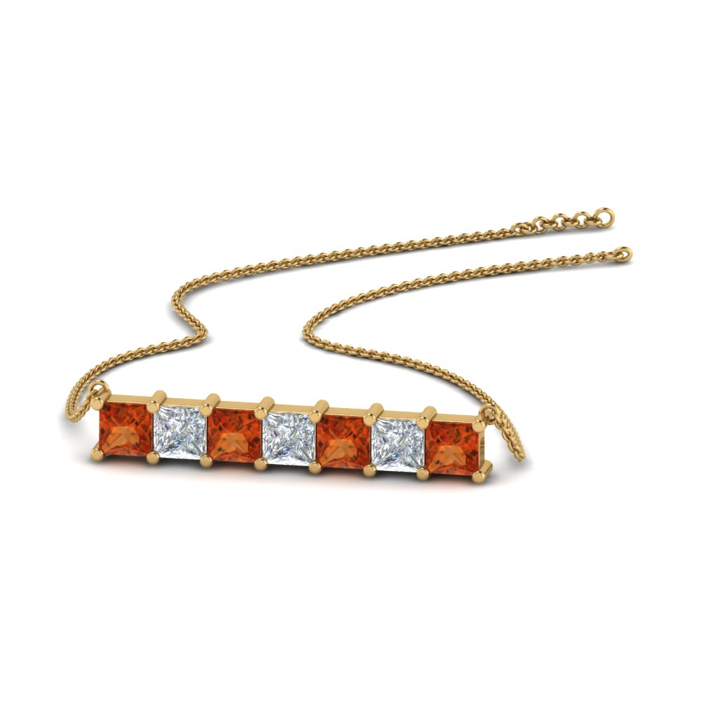 princess cut diamond horizontal bar pendant with orange sapphire in FDPD8420GSAOR NL YG