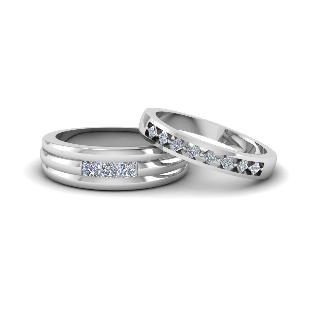 princess diamond kite set matching wedding anniversary ring for him and her in 14K white gold FD8169B NL WG