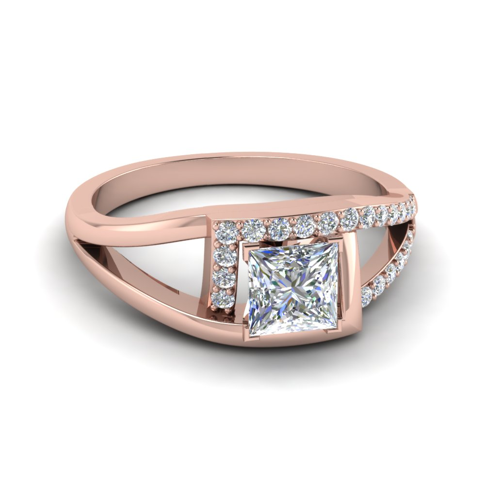 Princess Cut Diamond Split Shank Engagement Ring With White Diamond In 14k Rose  Gold