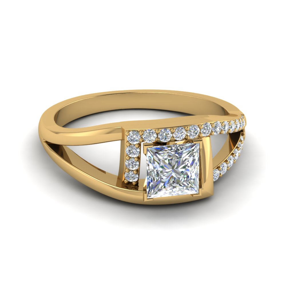 Square Split Shank Halo Engagement Ring
