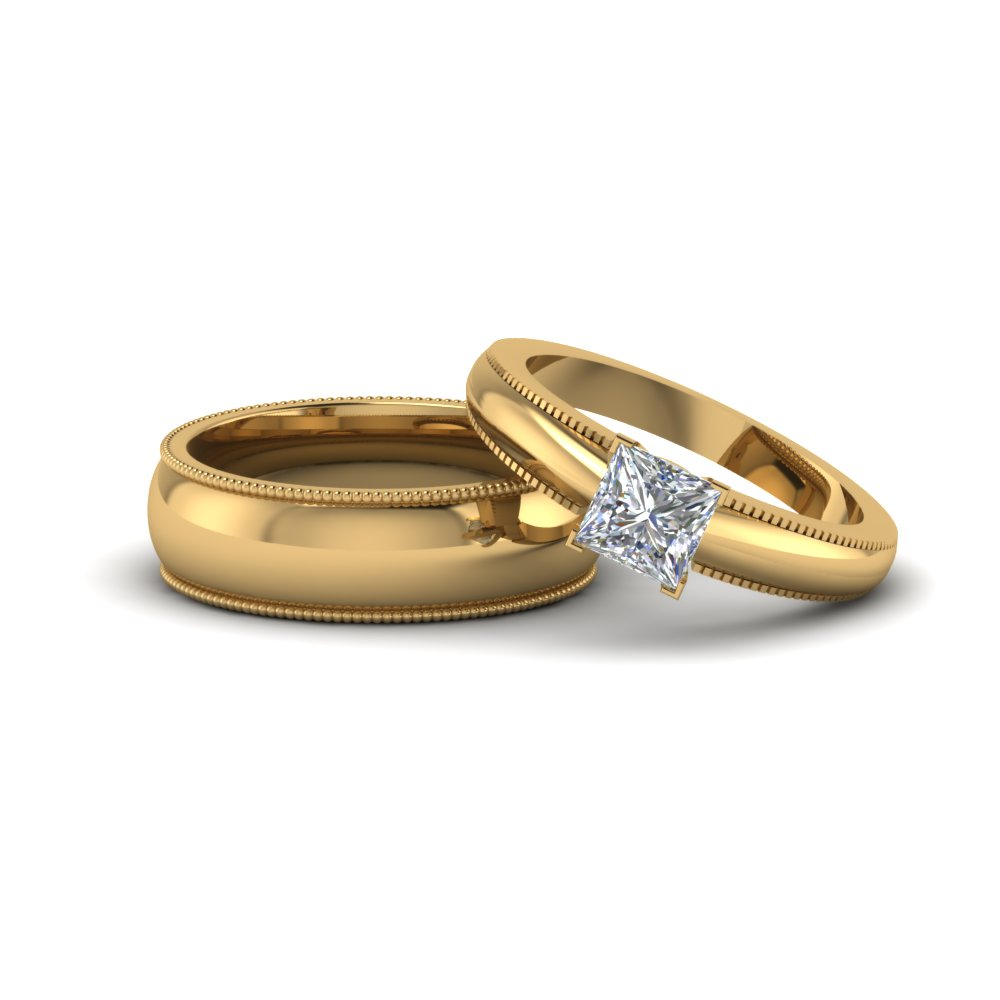 princess matching wedding anniversary ring with band for him and her in 14K yellow gold FD8136B NL YG