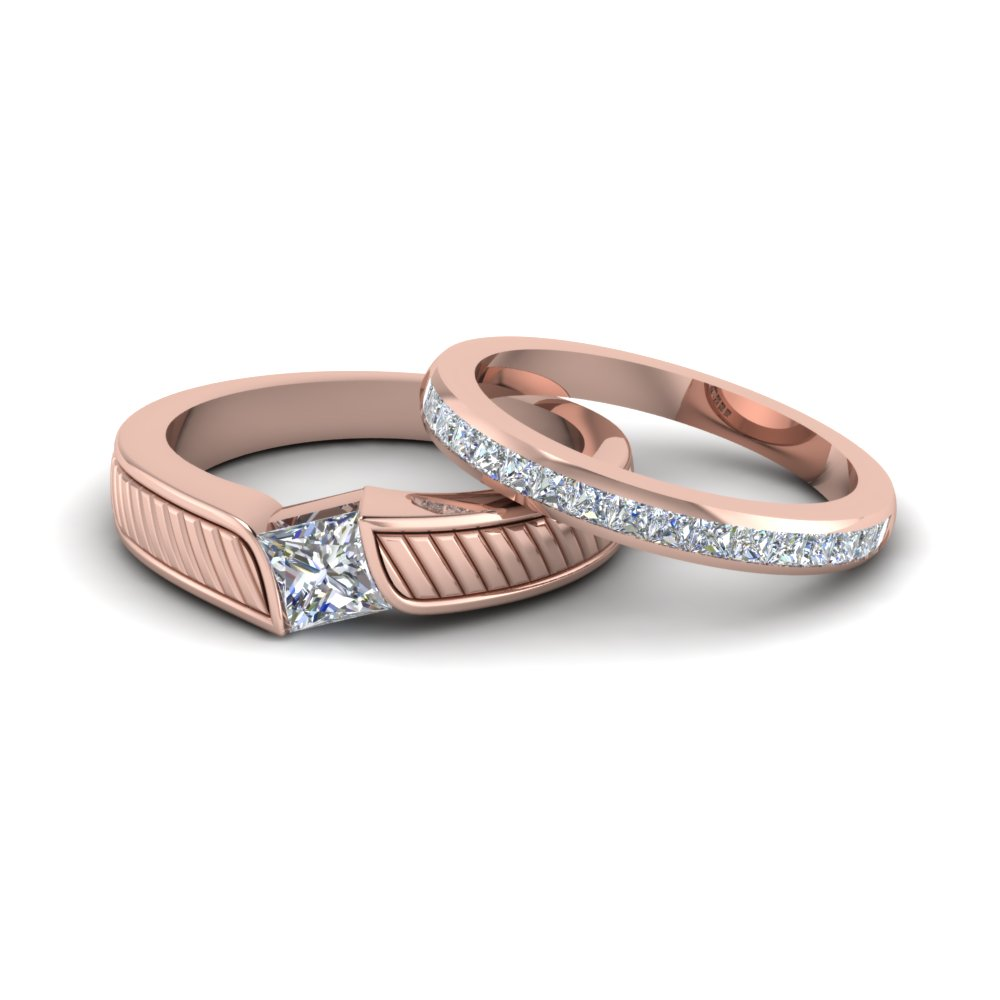 princess cut diamond unique his and hers wedding band in rose gold