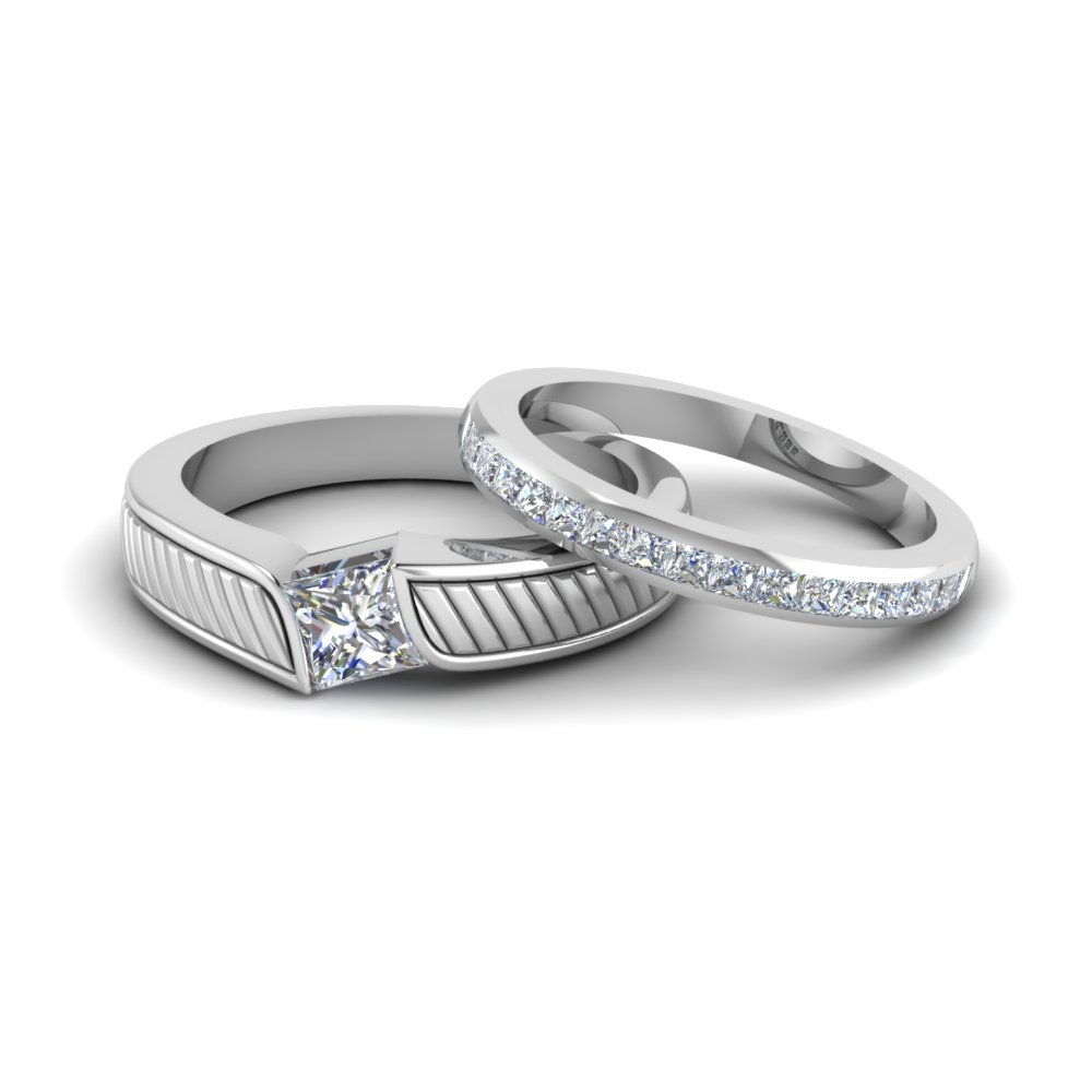 Princess Matching Wedding Anniversary Rings Gifts For Him And Her In 950 Platinum Fd8082b Nl Wg