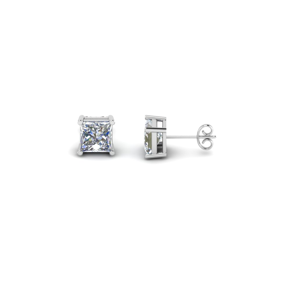 co carat white earrings gold diamond stud jewelry wg cut square and set avital invisible princess i