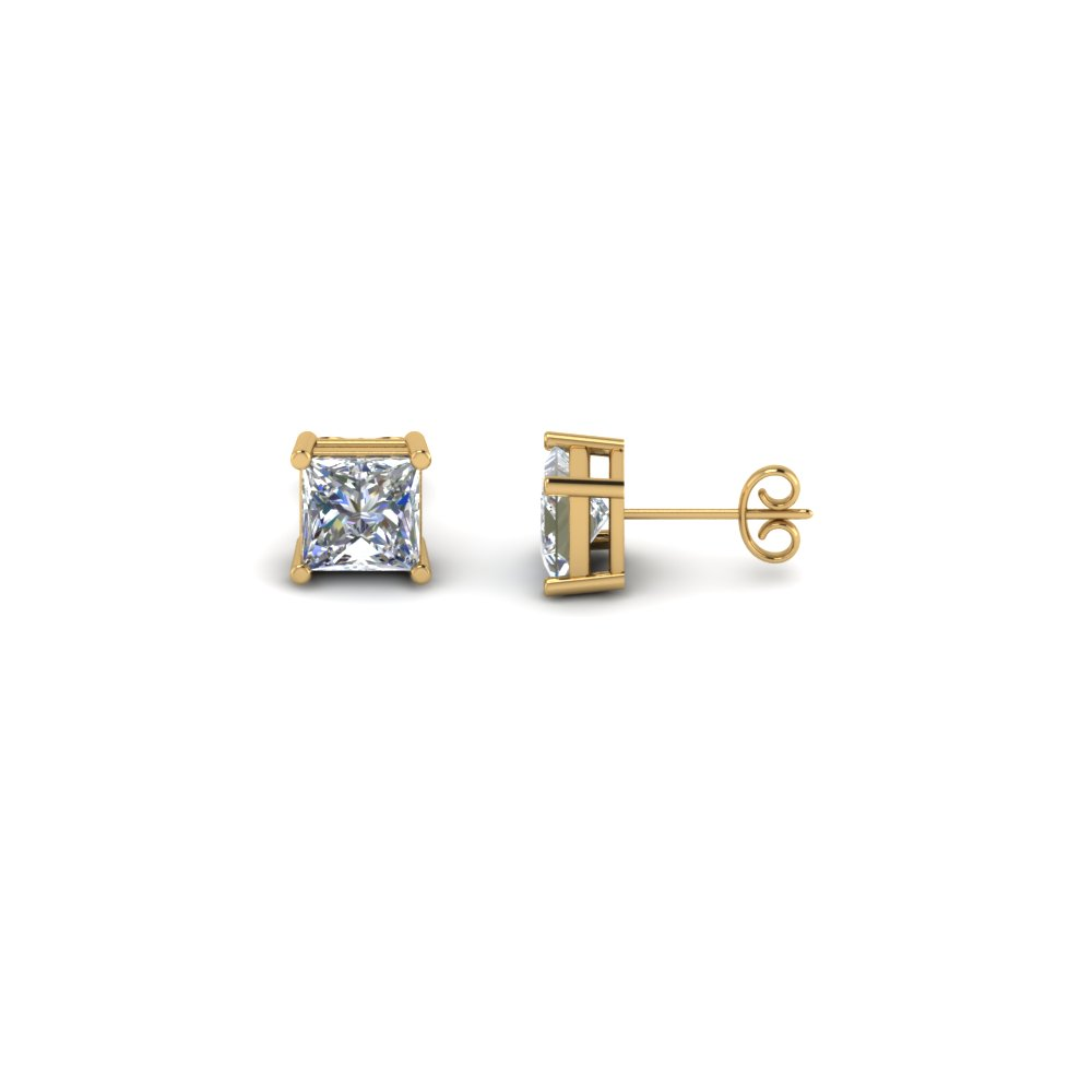 princess white diamond stud earrings in 14K yellow gold set FDEAR4PR33CT NL YG
