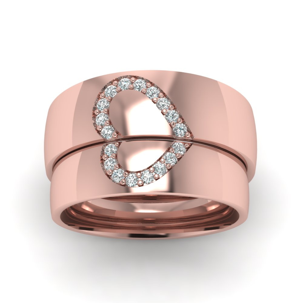 Promise His And Her Diamond Wedding Band In 14K Rose Gold ...