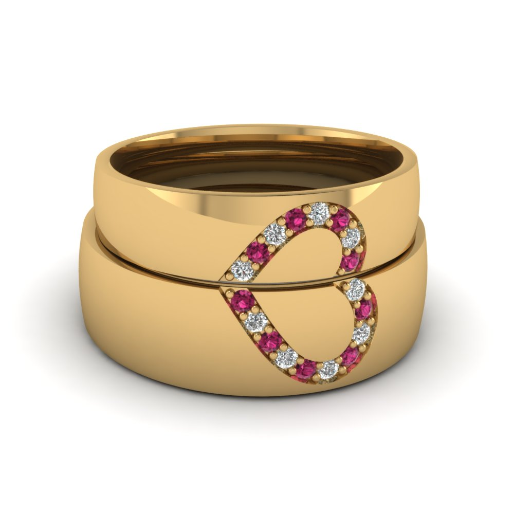Couples Pink Sapphire Wedding Band