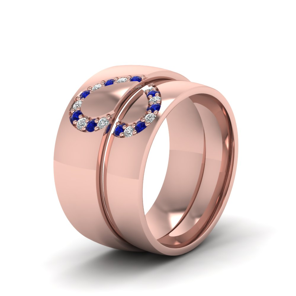 Promise His And Her Diamond Wedding Band With Sapphire In 14K Rose ...