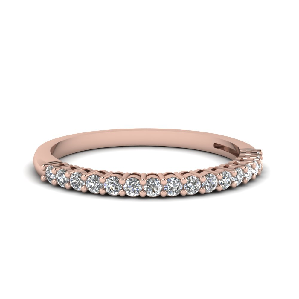 womens wedding bands with white diamond in 14k rose gold - Women Wedding Ring