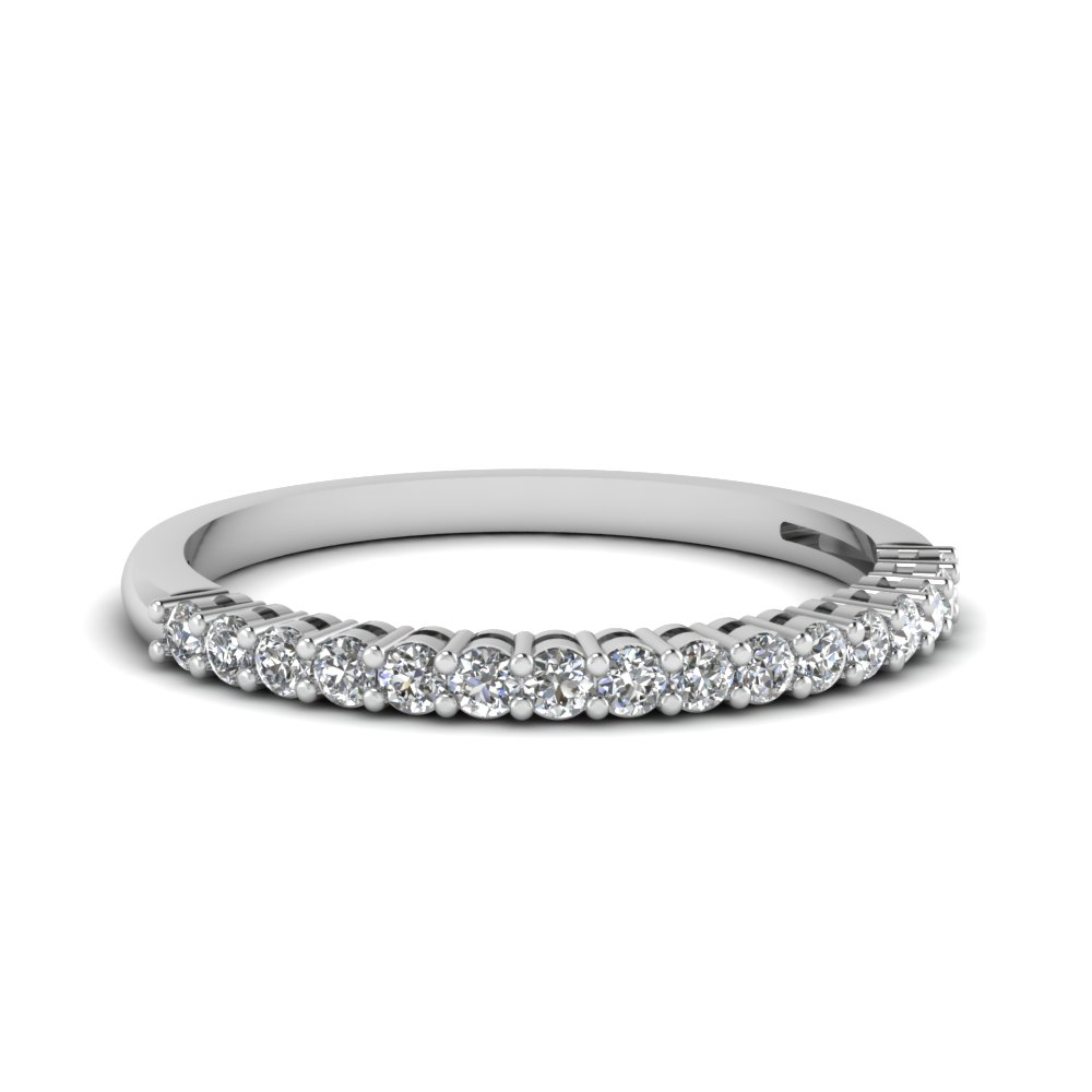 half eternity 14k white gold wedding band