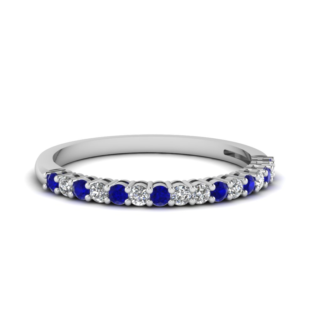 Sapphire Basket Prong Round Diamond Anniversary Band In 14K White