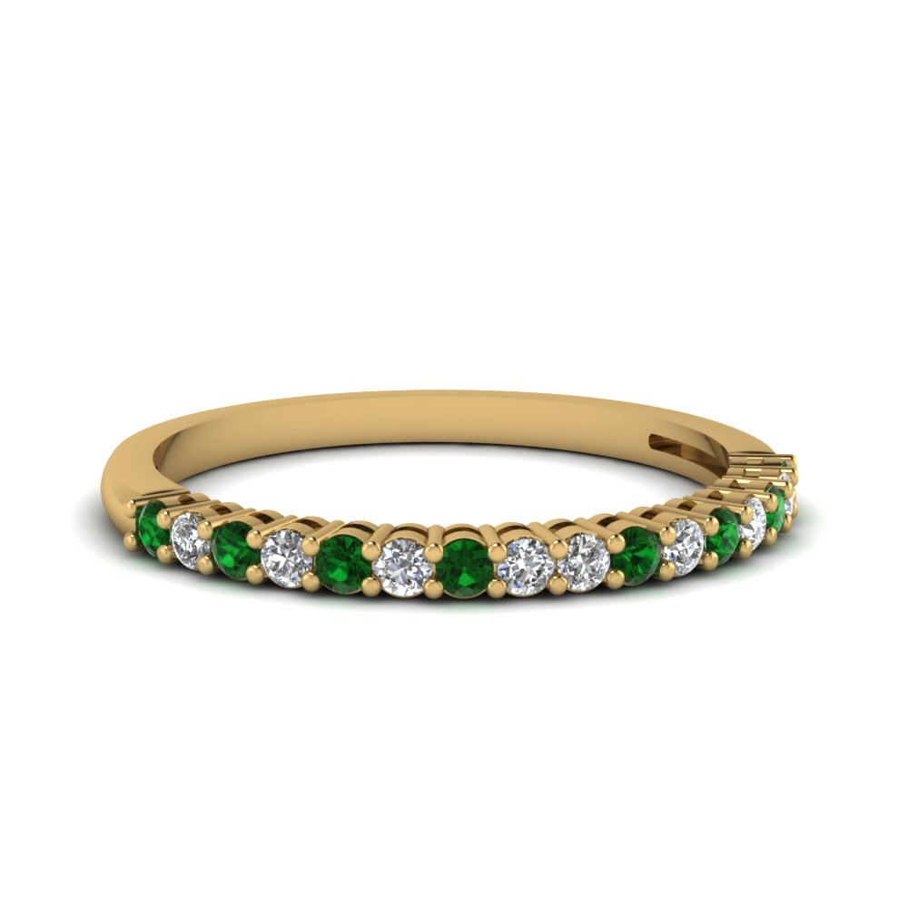 basket prong diamond anniversary band with emerald in FDENS3056BGEMGR NL YG