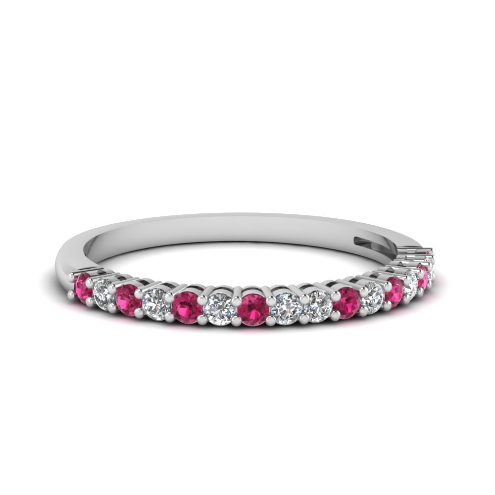 basket prong diamond anniversary band with pink sapphire in FDENS3056BGSADRPI NL WG