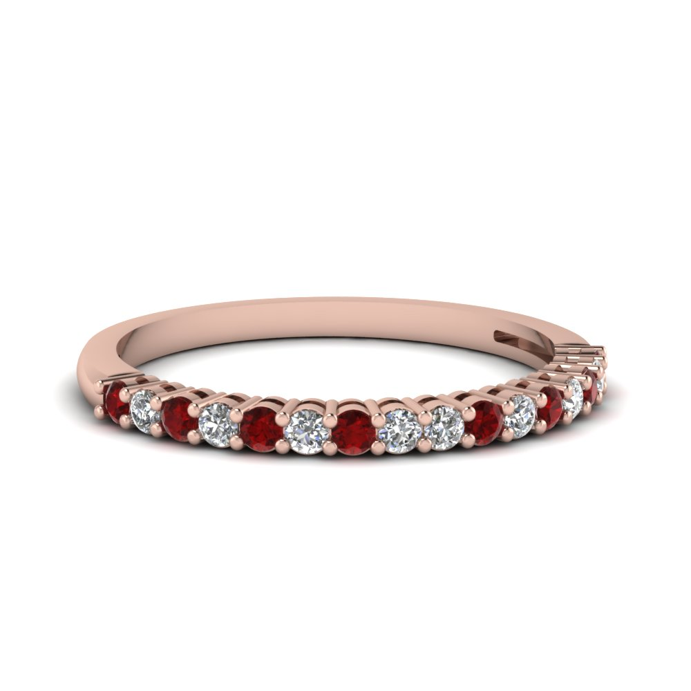 Basket Prong Ruby Wedding Band