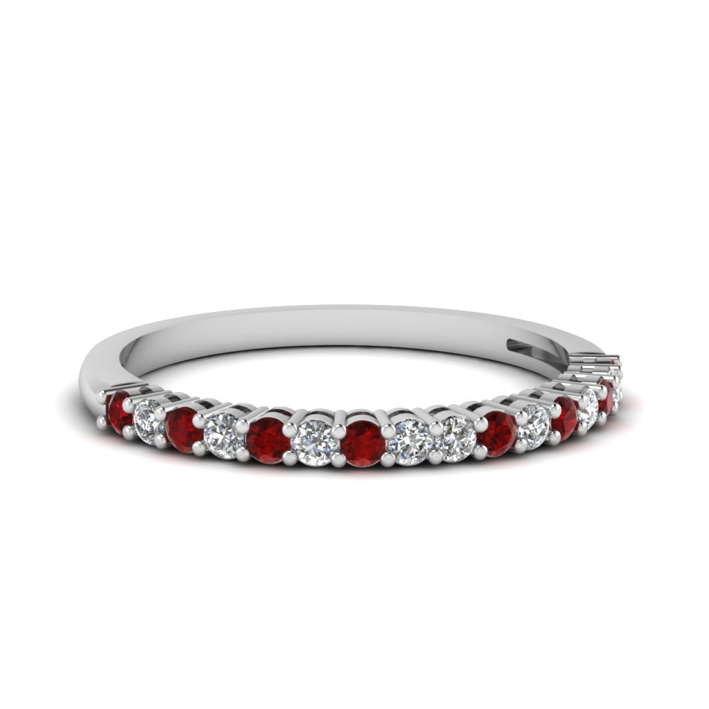basket prong diamond anniversary band with ruby in FDENS3056BGRUDR NL WG