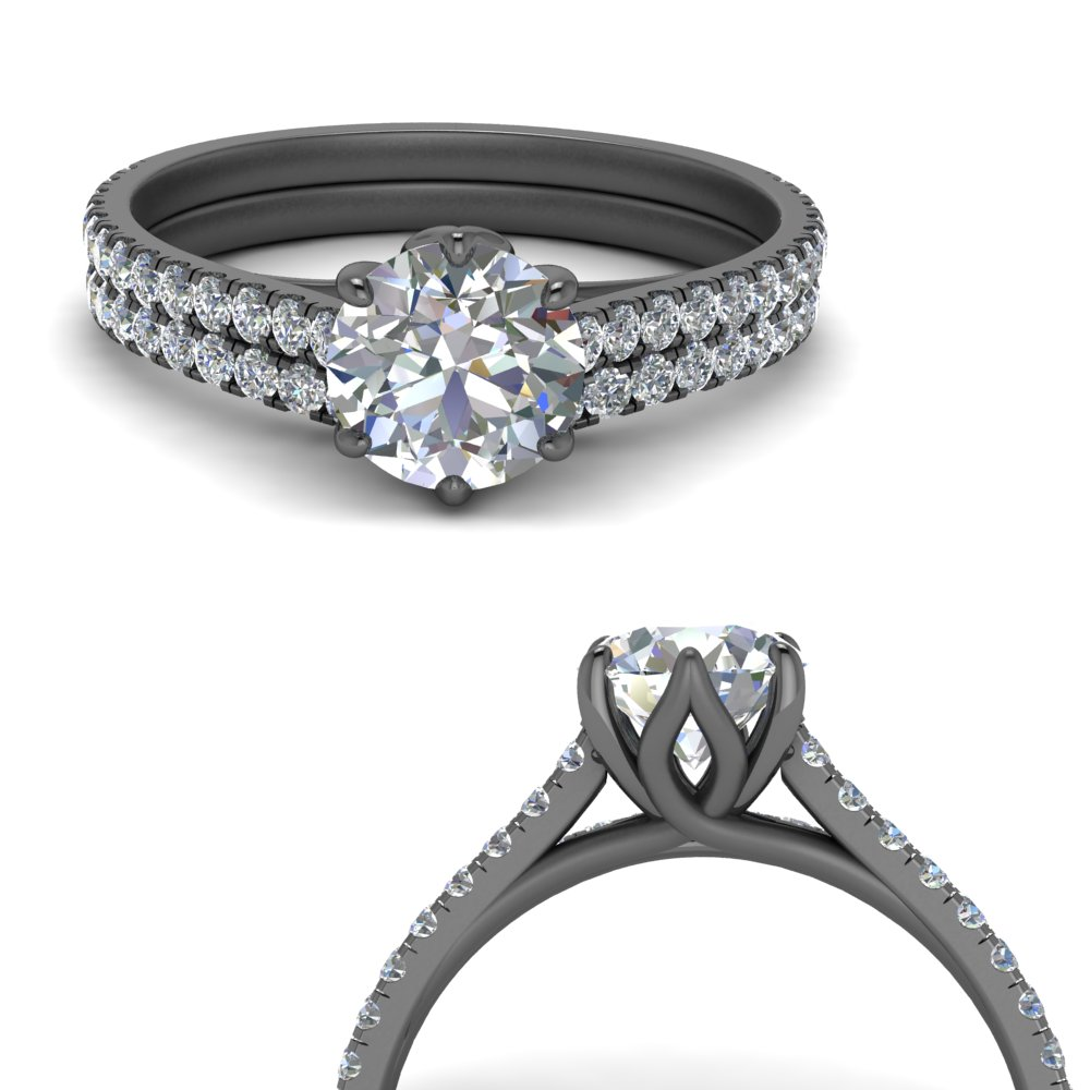 prong flower basket diamond wedding set in FD9109B1ROANGLE3 NL BG.jpg