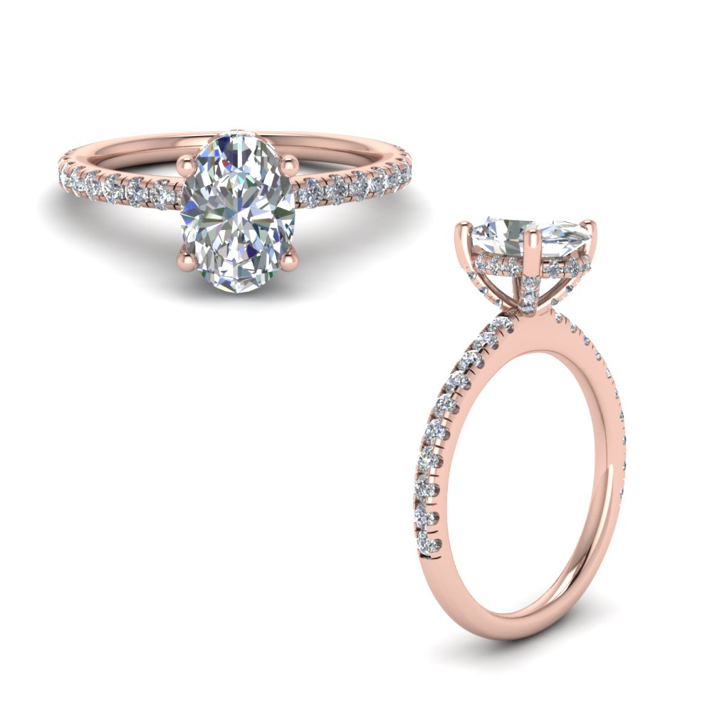 prong oval shaped diamond petite engagement ring in rose gold FD8523OVRANGLE1 NL RG GS