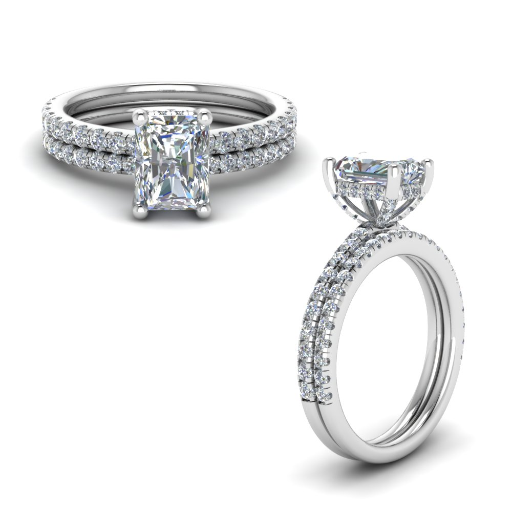 prong radiant cut diamond petite bridal set in FD8523RAANGLE1 NL WG GS