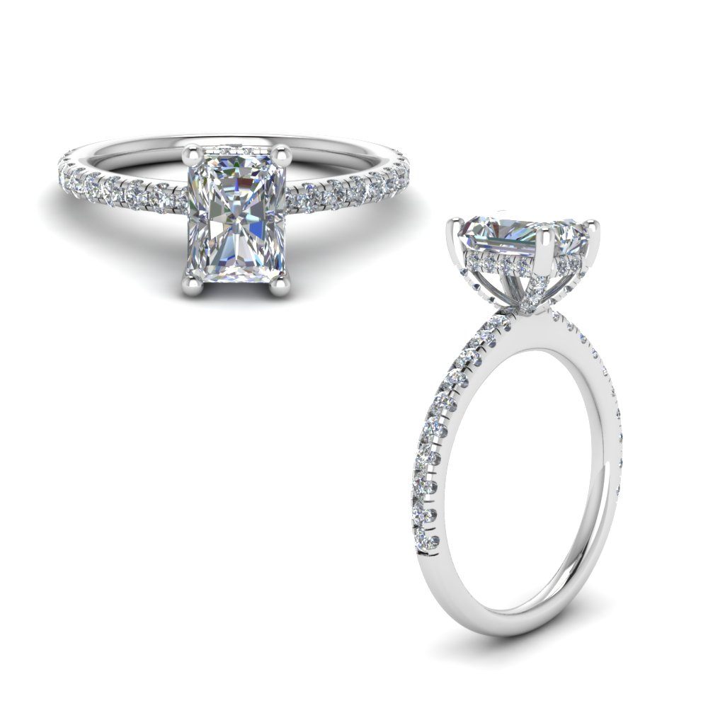 8683e7594ab62f prong radiant cut diamond petite engagement ring in FD8523RARANGLE1 NL WG GS