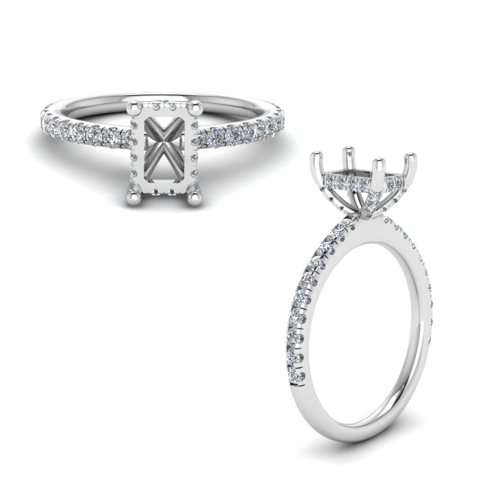 Emerald Cut Petite Ring Setting