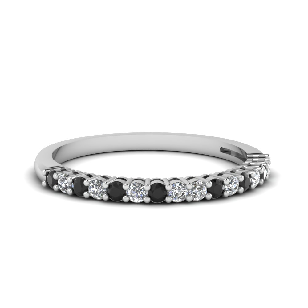 Basket Prong Anniversary Band With Black Diamond In 950